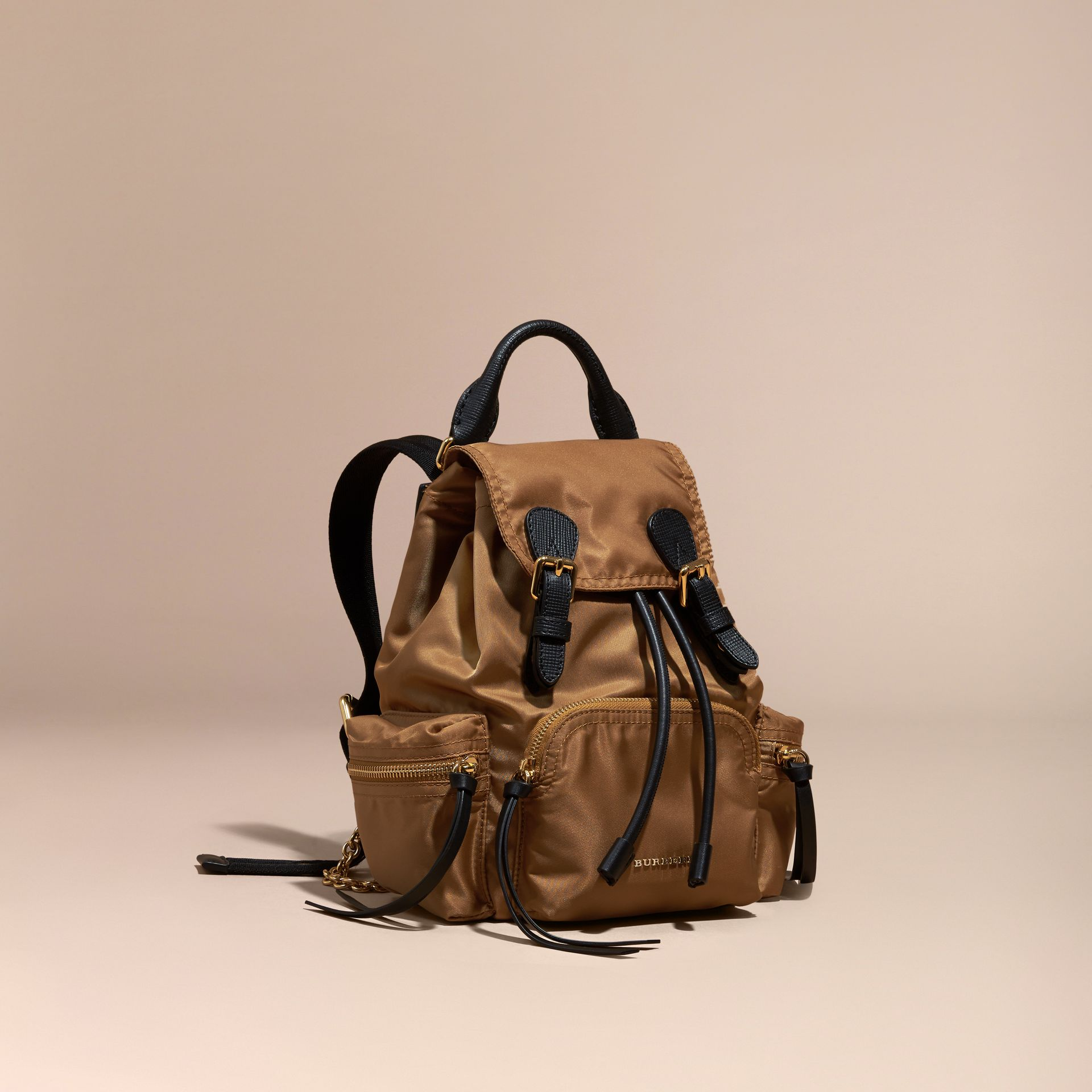 The Small Rucksack in Technical Nylon and Leather in Light Flax - gallery image 1