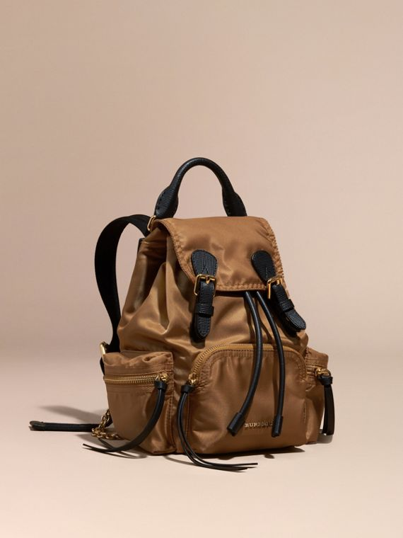 The Small Rucksack in Technical Nylon and Leather in Light Flax