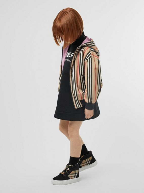 Reversible Icon Stripe Hooded Jacket in Pale Mauve