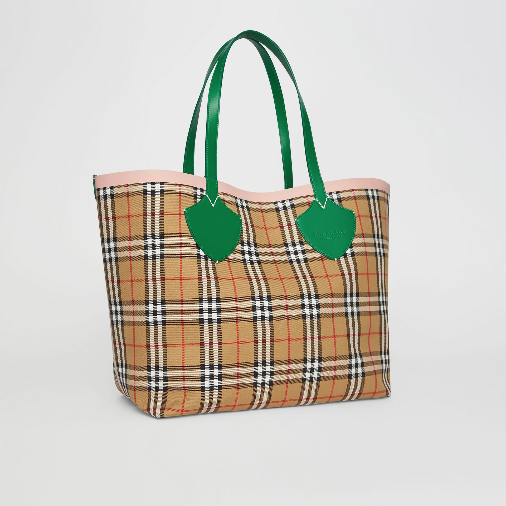 Sac tote The Giant réversible à motif Vintage check (Vert Sombre/abricot Rose) - Femme | Burberry Canada - photo de la galerie 8