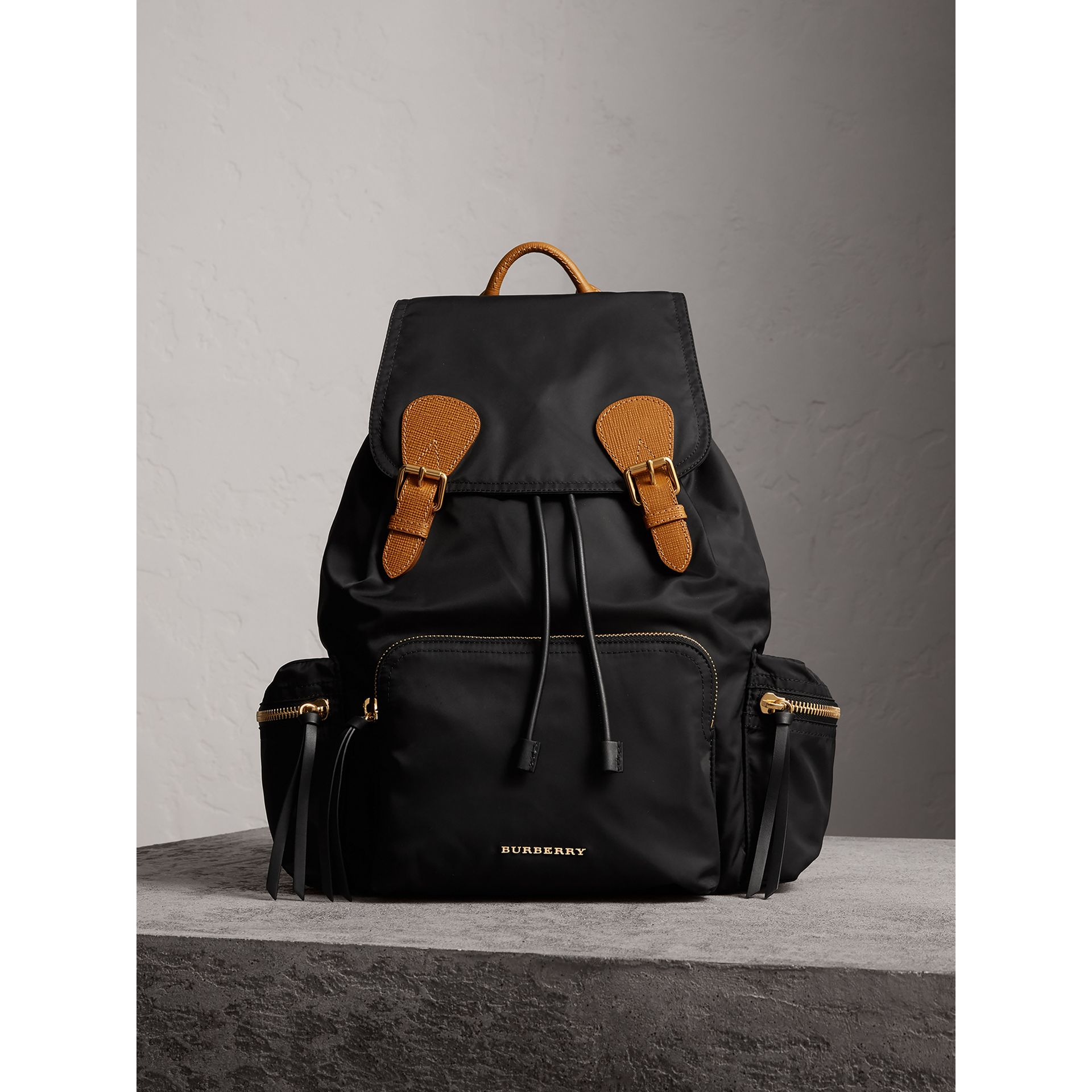 The Large Rucksack in Technical Nylon and Leather in Black - Women | Burberry Australia - gallery image 7