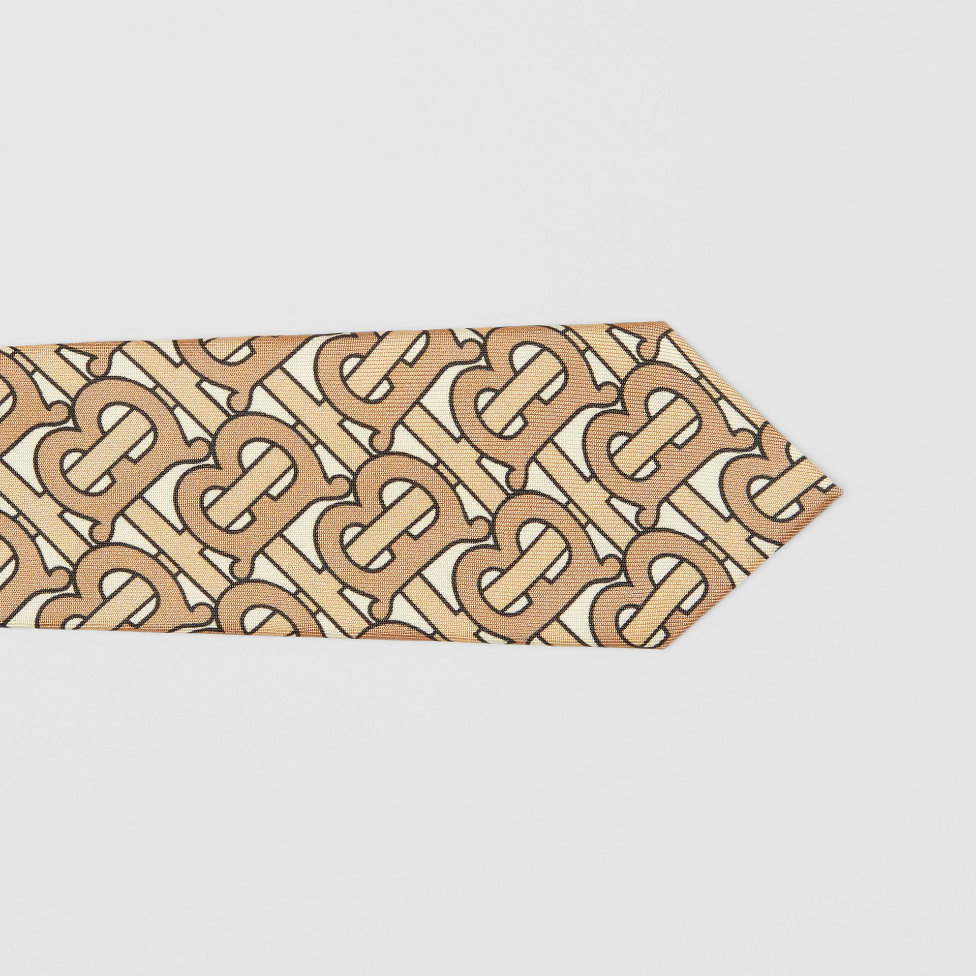 Classic Cut Monogram Print Silk Tie in Honey - Men | Burberry Canada - gallery image 1