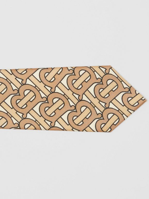 Classic Cut Monogram Print Silk Tie in Honey - Men | Burberry - cell image 1