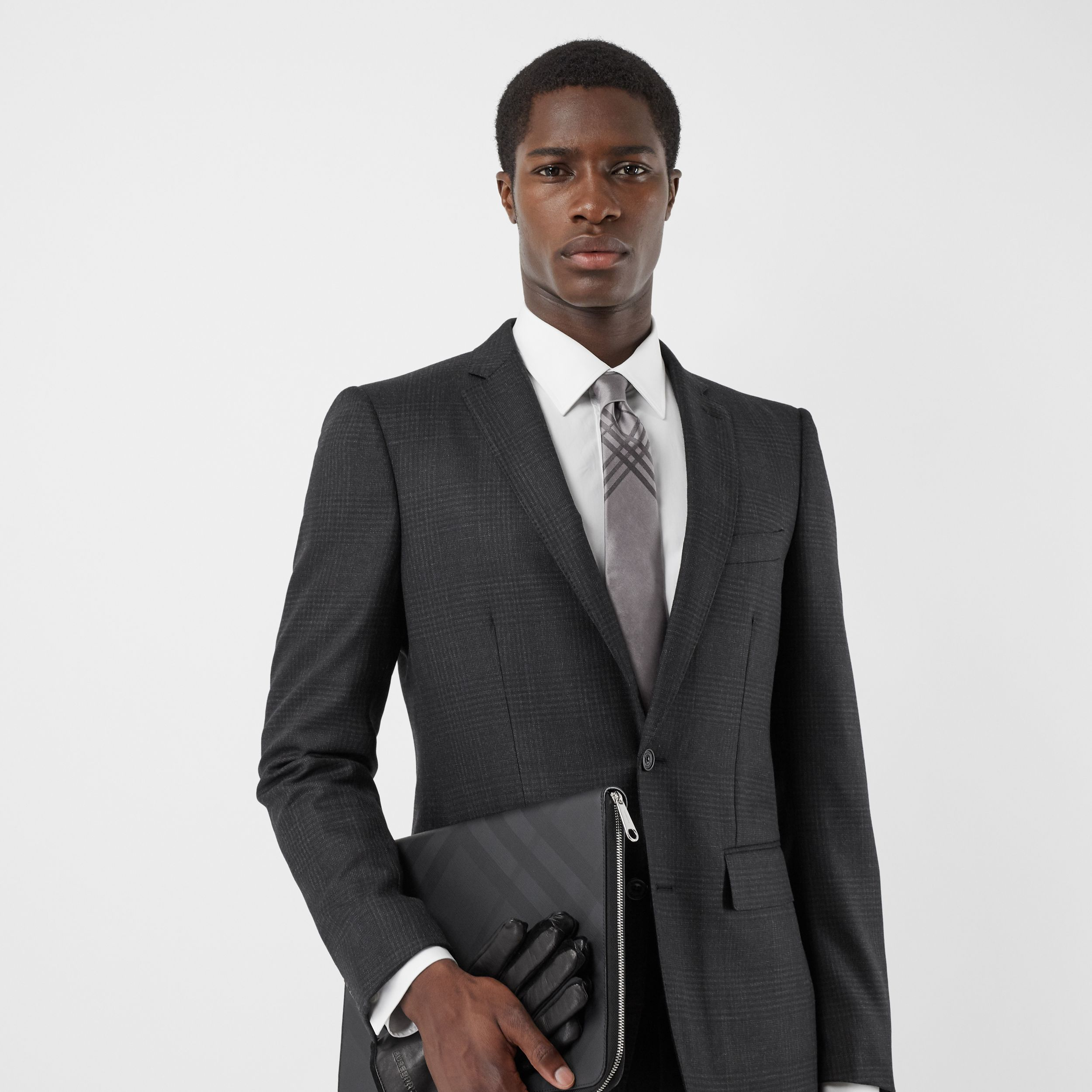 Classic Cut Check Silk Jacquard Tie in Storm Grey - Men | Burberry - 3
