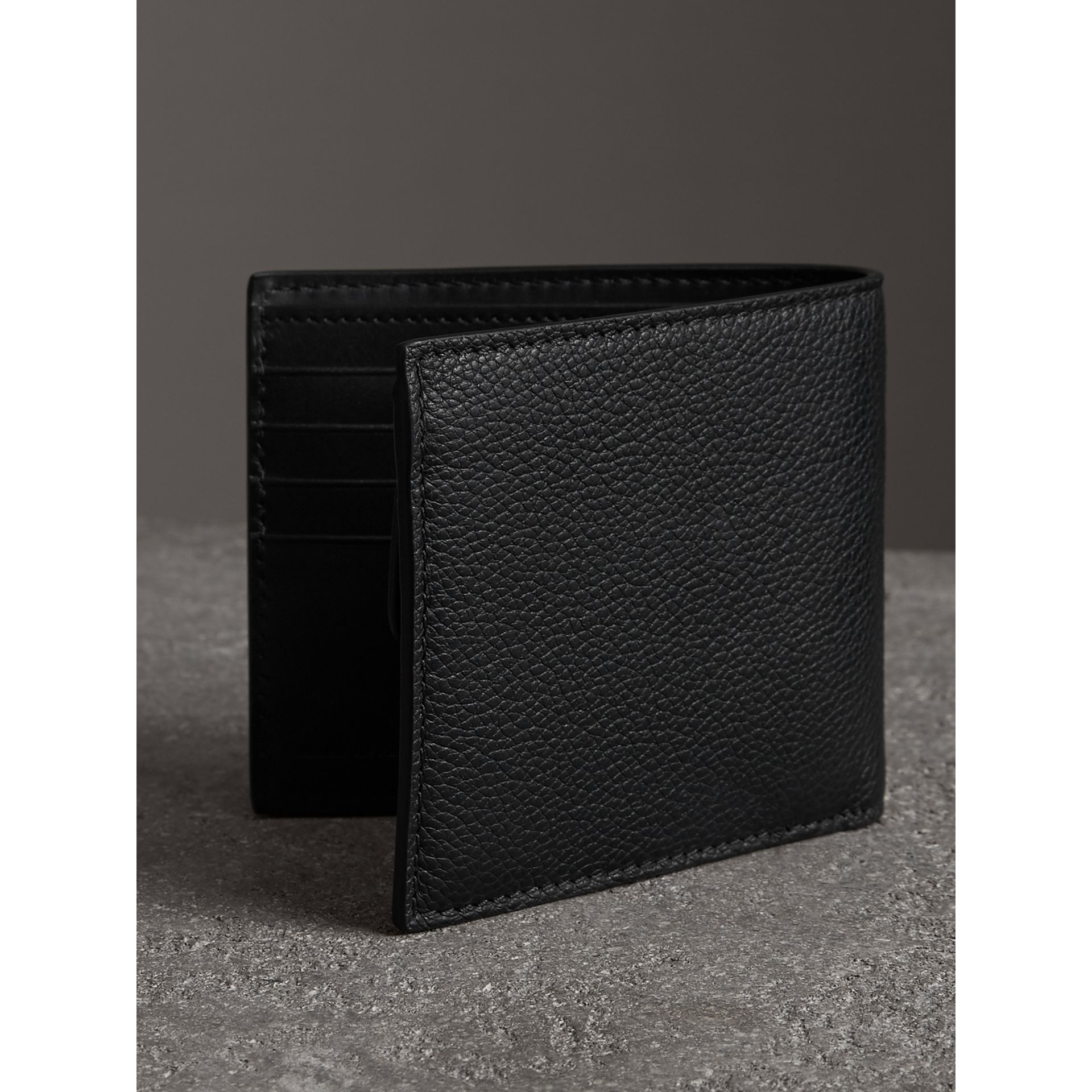 Grainy Leather International Bifold Coin Wallet in Black - Men | Burberry Canada - gallery image 2