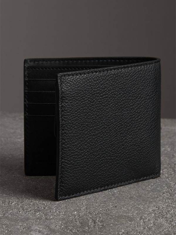 Grainy Leather International Bifold Coin Wallet in Black - Men | Burberry Australia - cell image 2