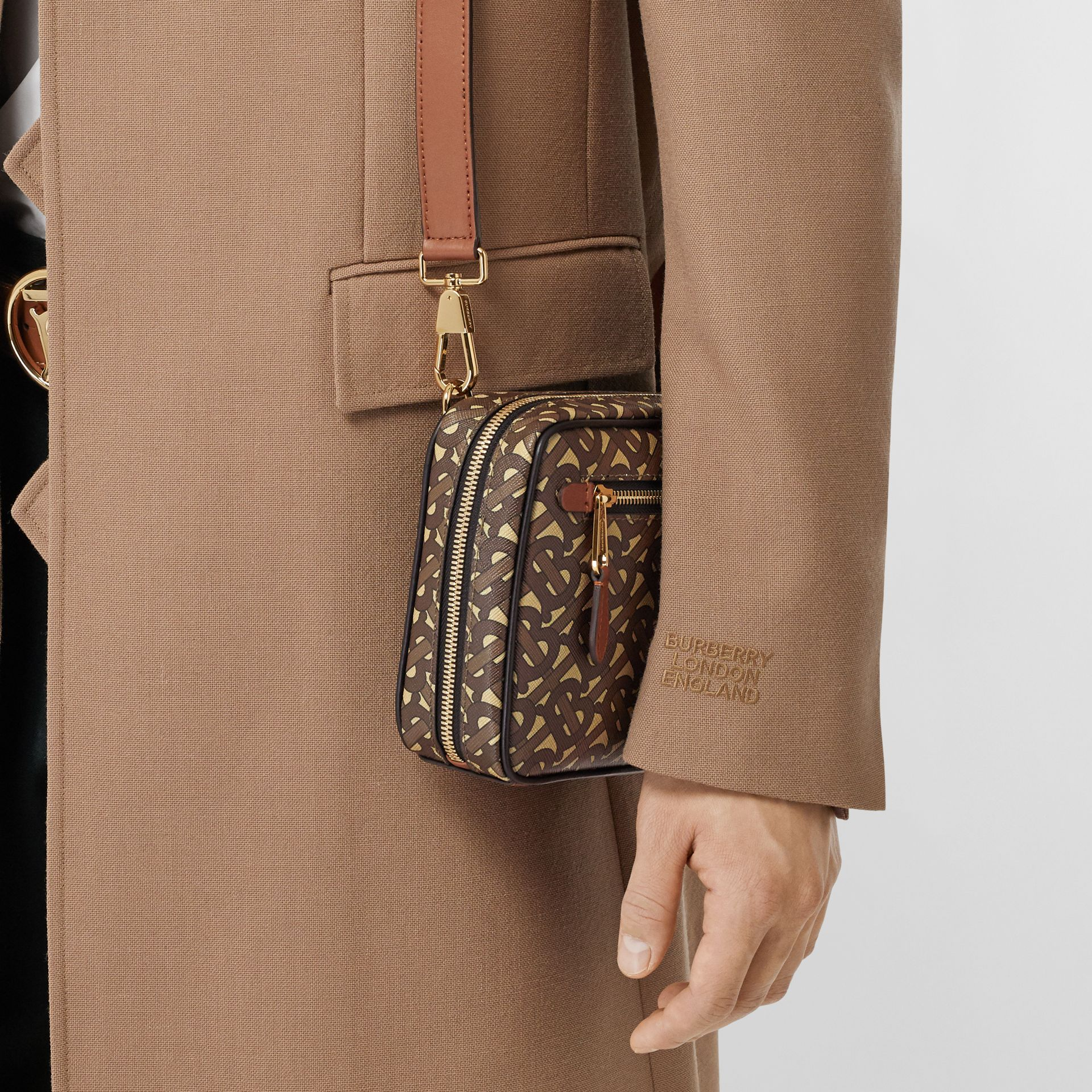 Monogram Print E-canvas Crossbody Bag in Bridle Brown - Men | Burberry - gallery image 2