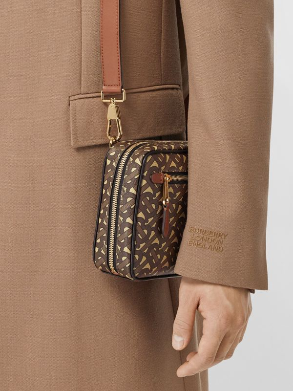 Monogram Print E-canvas Crossbody Bag in Bridle Brown - Men | Burberry - cell image 2
