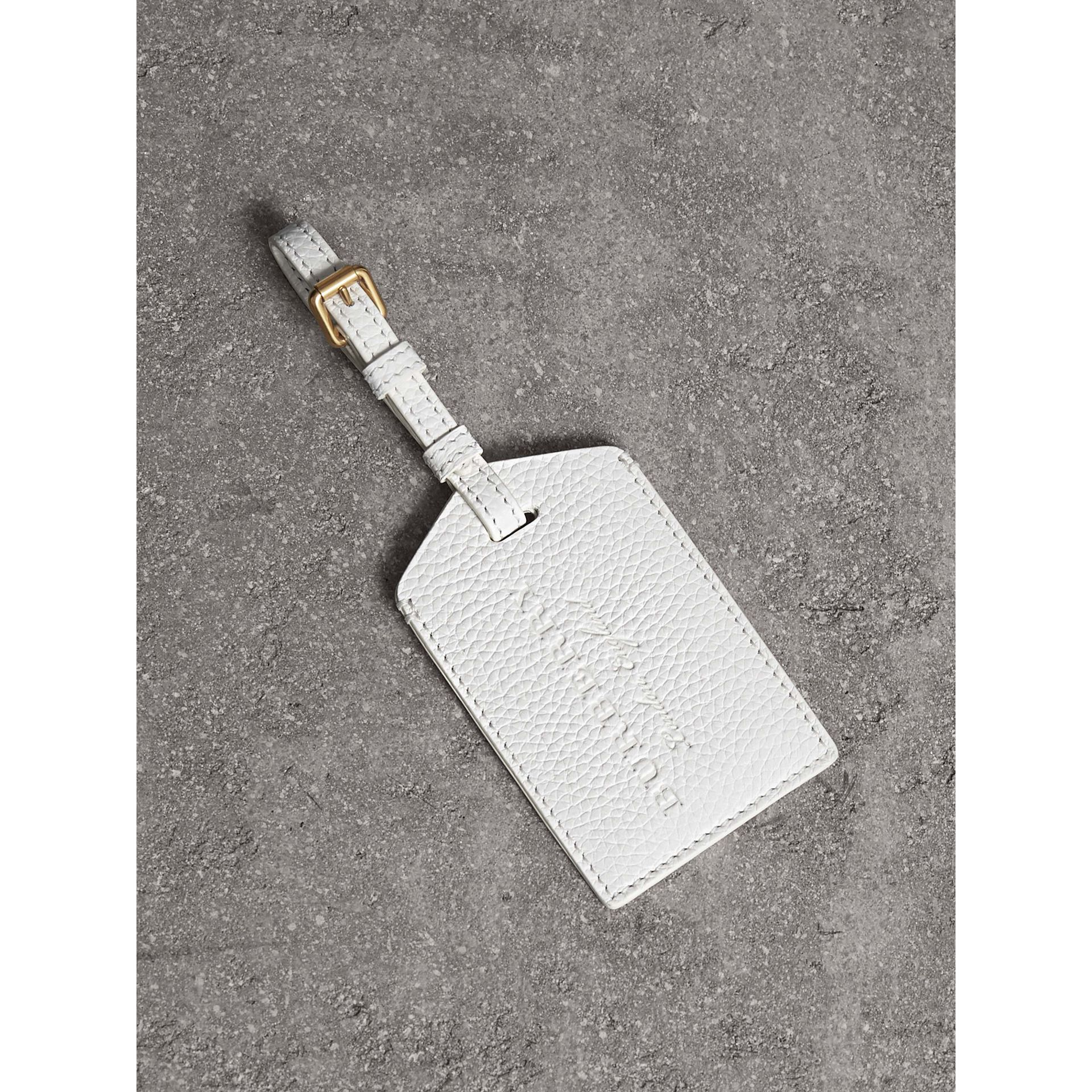 Grainy Leather Luggage Tag in Chalk White | Burberry Singapore - gallery image 0