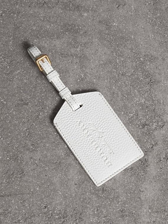 Porte-étiquette en cuir grainé (Blanc Craie)