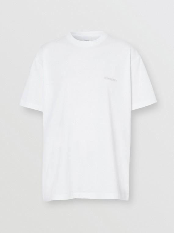 Camiseta oversize de algodão com monograma com cristais (Branca)