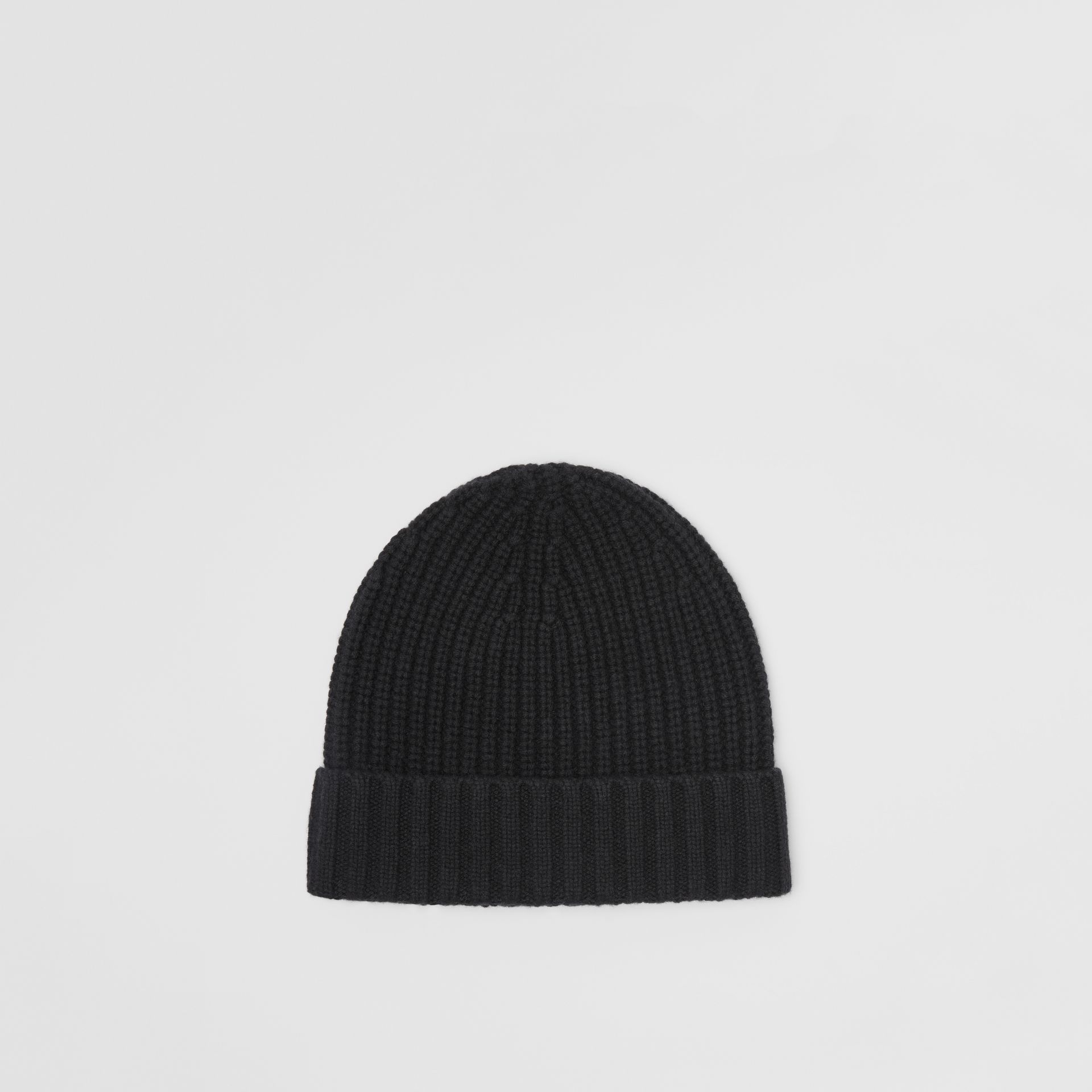 Embroidered Crest Rib Knit Wool Cashmere Beanie in Black | Burberry Australia - gallery image 4