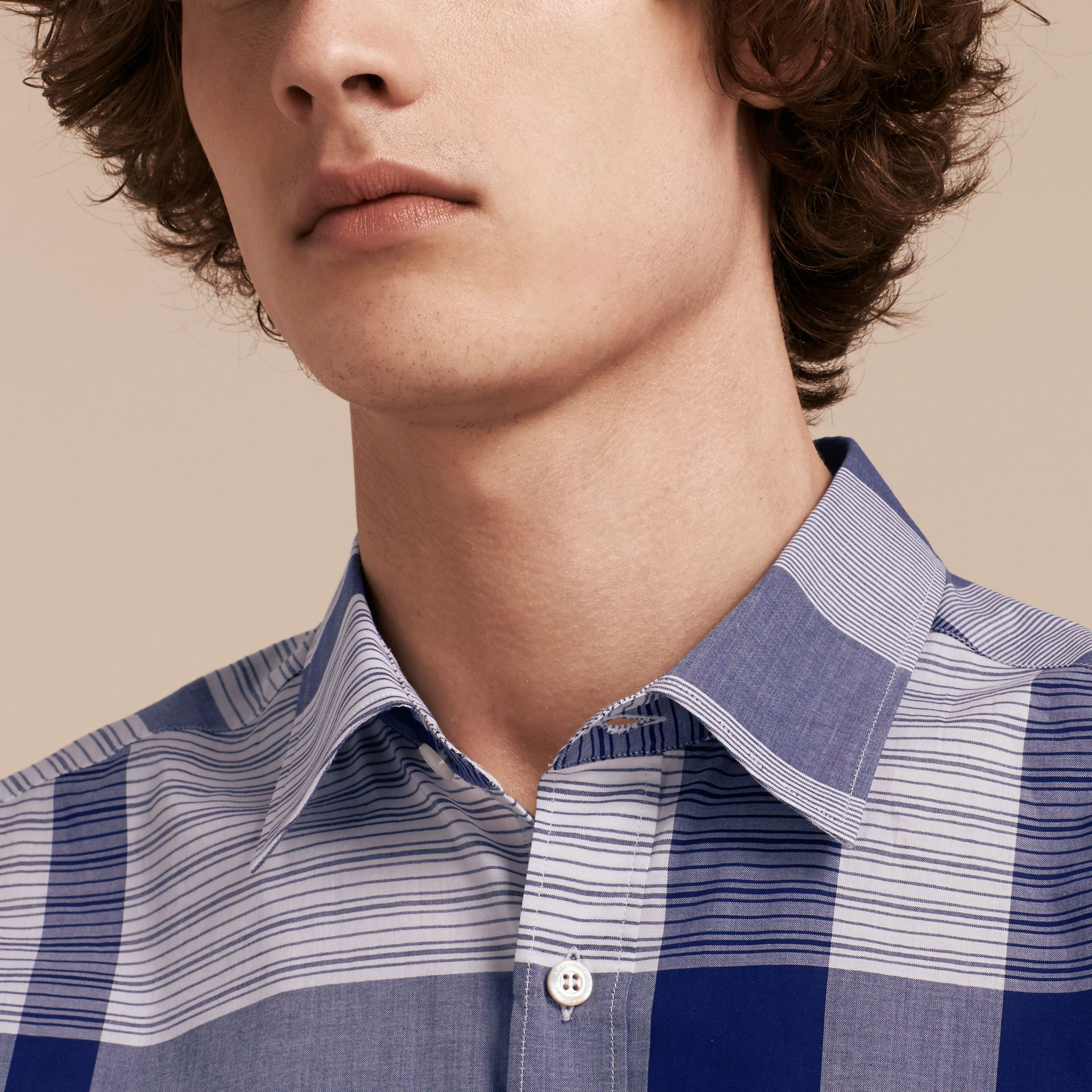 Short-sleeved Tonal Check Cotton Shirt Bright Navy - gallery image 5