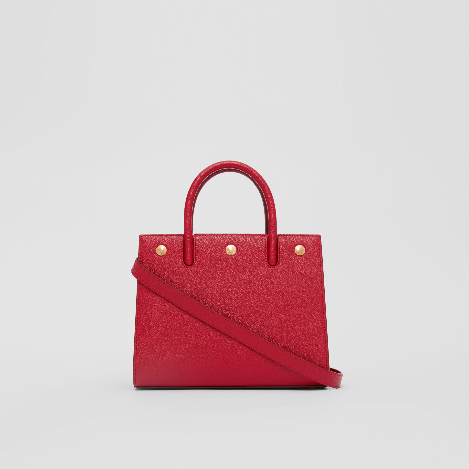 Mini Leather Two-handle Title Bag in Dark Carmine | Burberry - gallery image 7