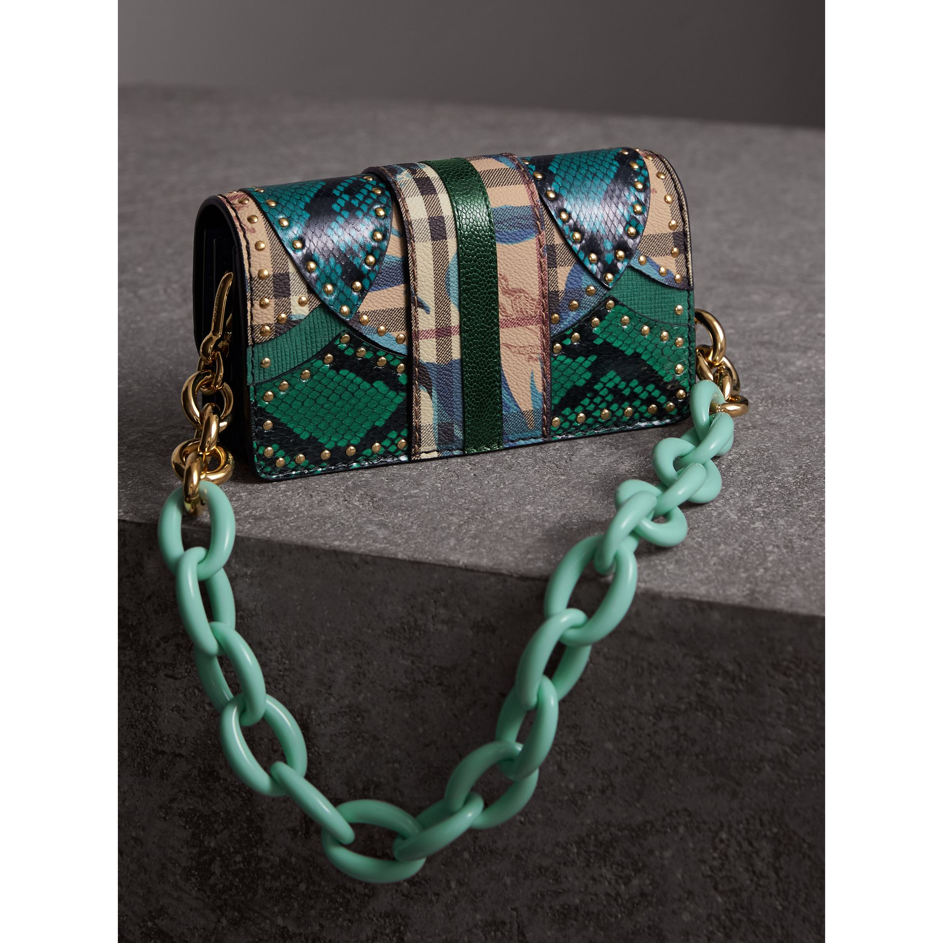 The Small Buckle Bag in Riveted Snakeskin and Floral Print in Turquoise - Women | Burberry - gallery image 4