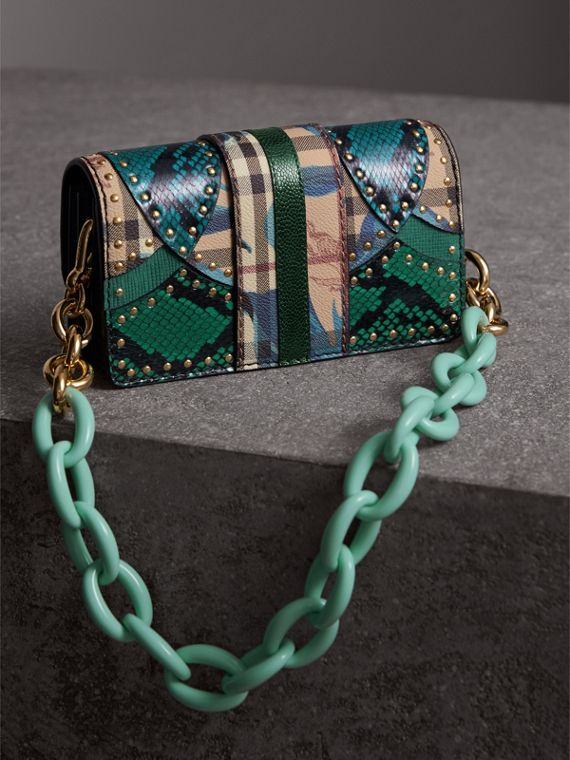The Small Buckle Bag in Riveted Snakeskin and Floral Print in Turquoise - Women | Burberry - cell image 3