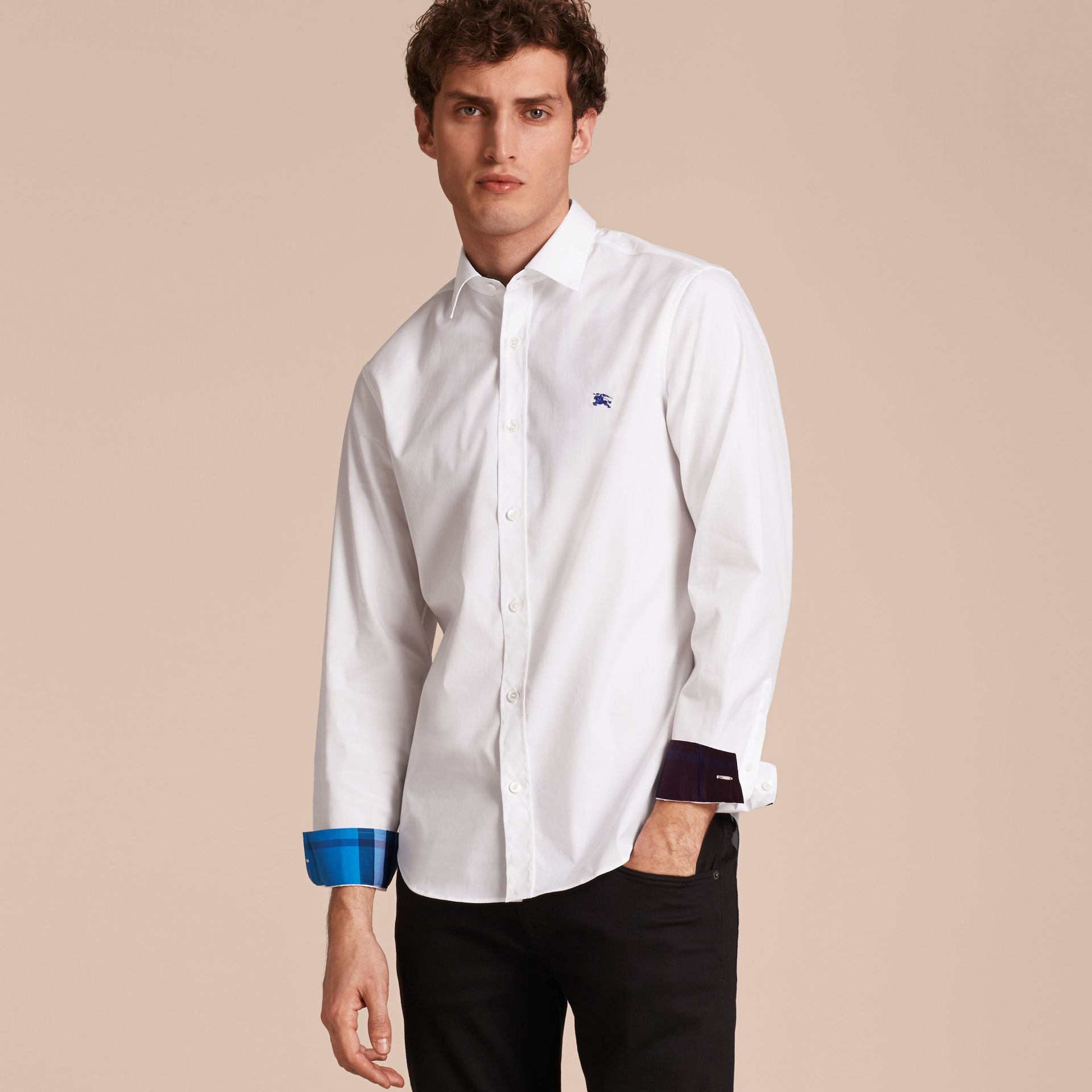 Check Detail Stretch Cotton Shirt White - gallery image 6