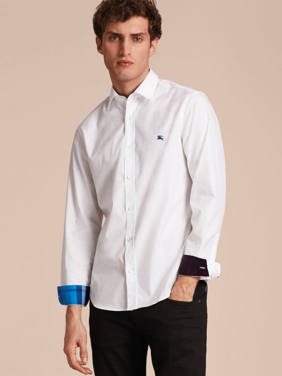 Check Detail Stretch Cotton Shirt in White