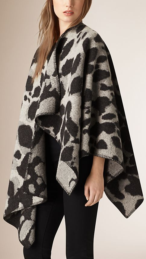 Mid grey Animal Pattern Wool Cashmere Poncho - Image 1
