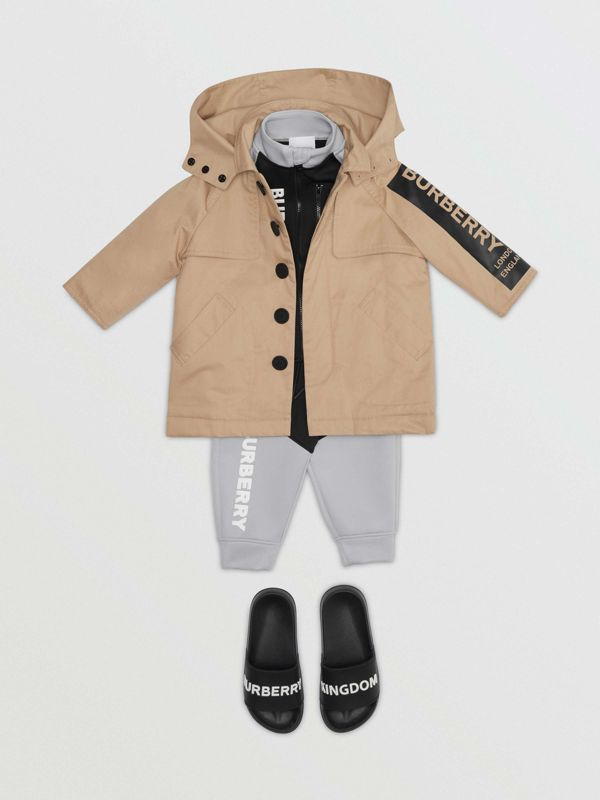 Detachable Hood Logo Print Cotton Twill Car Coat in Honey - Children | Burberry - cell image 2