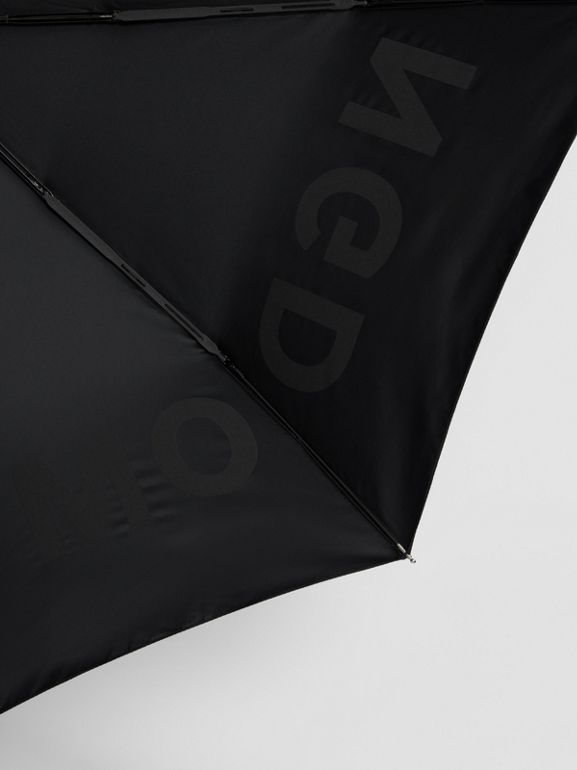 Kingdom Print Folding Umbrella in Black | Burberry - cell image 1