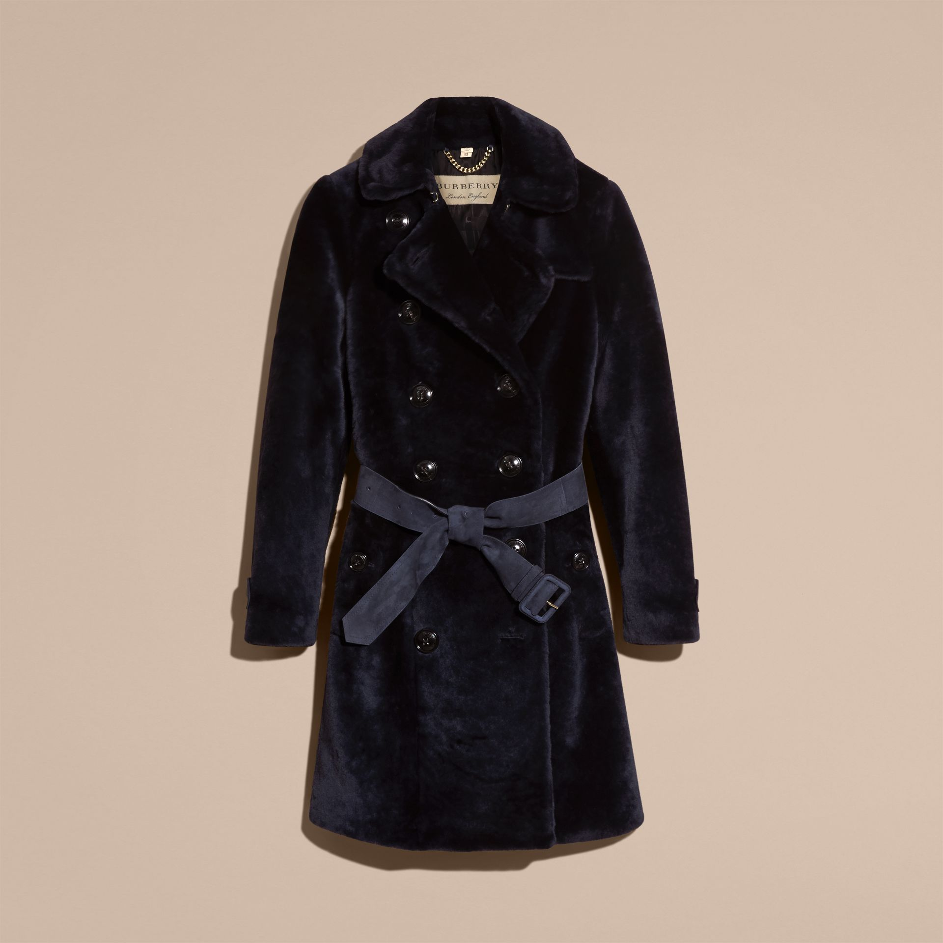 Navy Double-breasted Shearling Trench Coat - gallery image 4