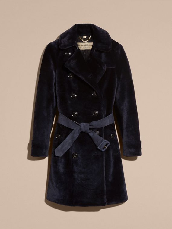 Navy Double-breasted Shearling Trench Coat - cell image 3
