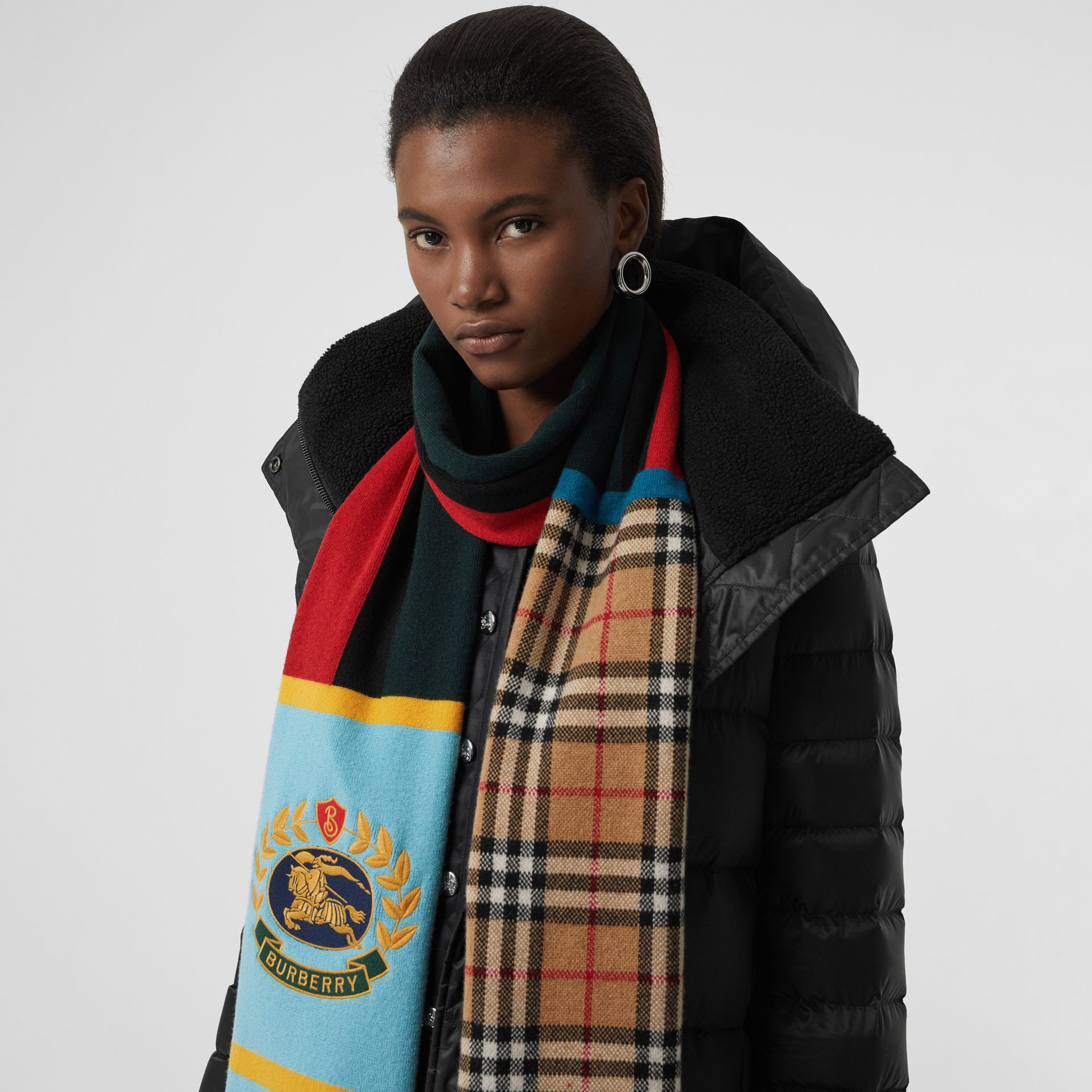Vintage Check Colour Block Cashmere Blend Scarf in Multicolour | Burberry - gallery image 5
