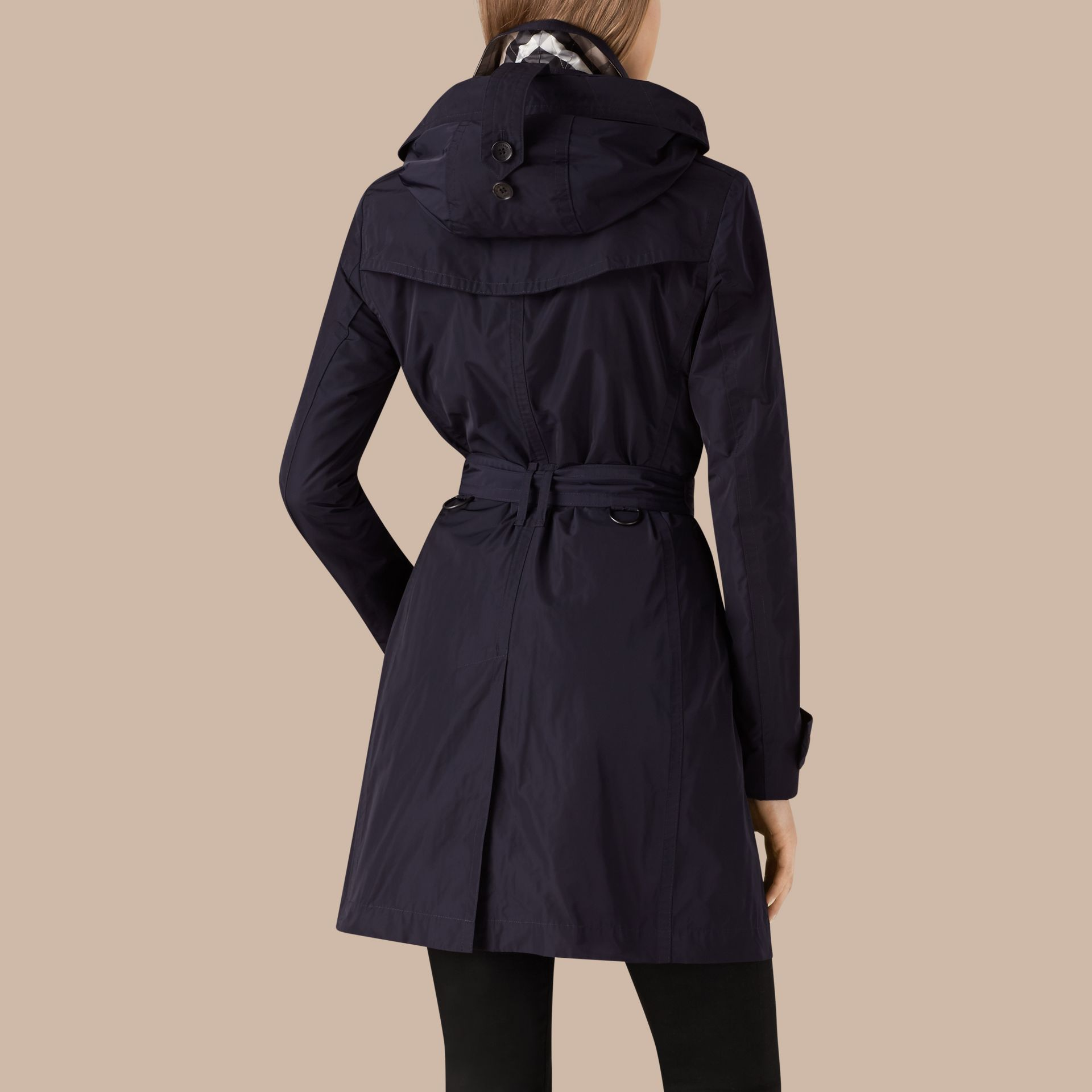 Navy Taffeta Trench Coat with Detachable Hood Navy - gallery image 3