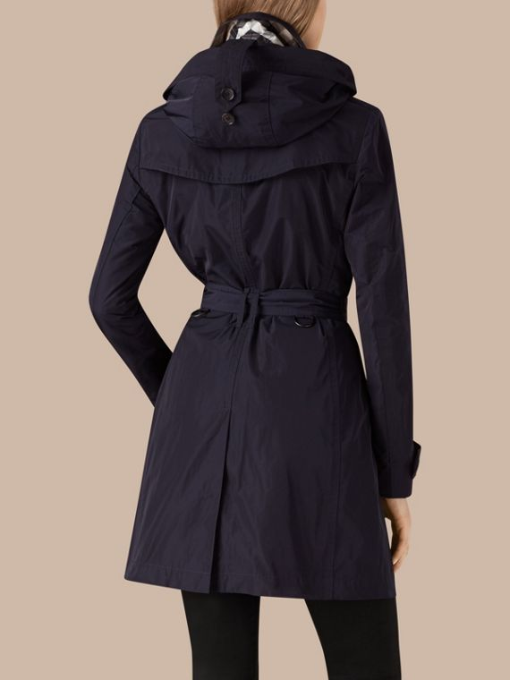Taffeta Trench Coat with Detachable Hood in Navy - cell image 2