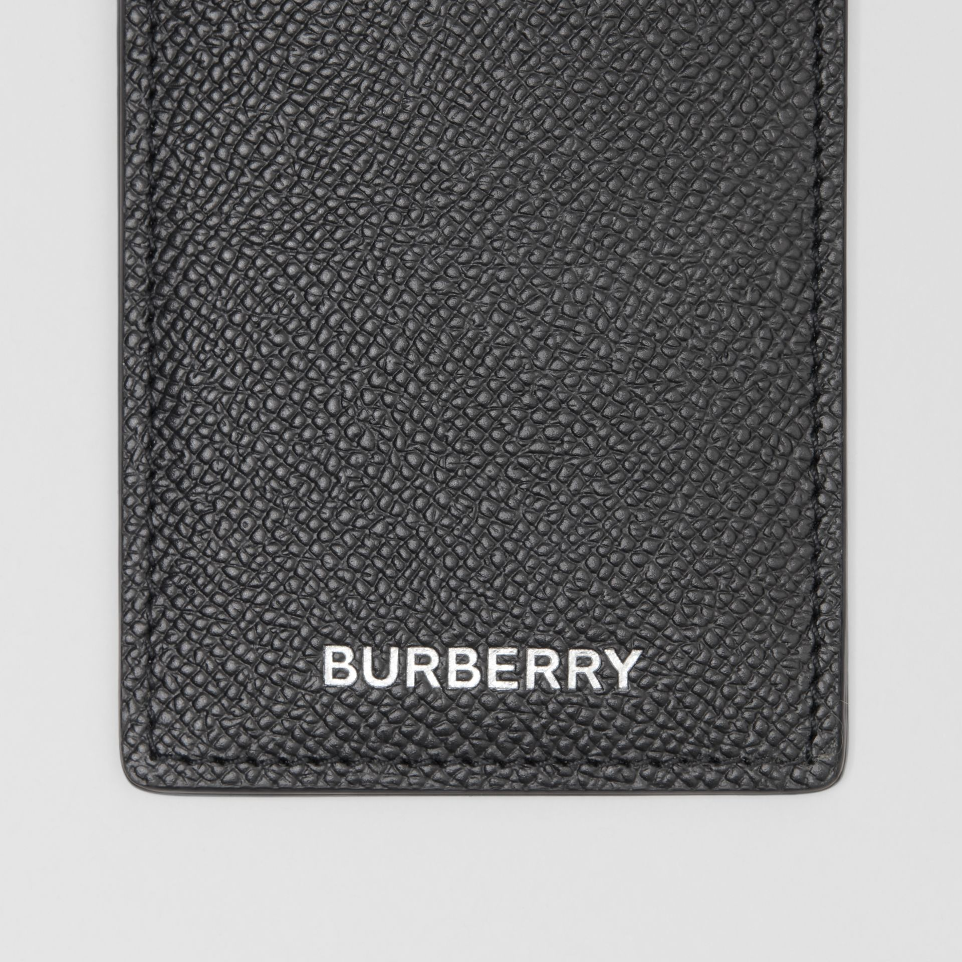 Grainy Leather Card Case in Black - Men | Burberry - gallery image 1
