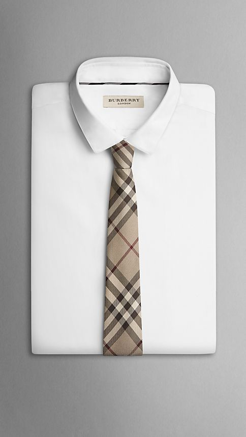 Smoked trench Modern Cut Check Silk Tie - Image 3