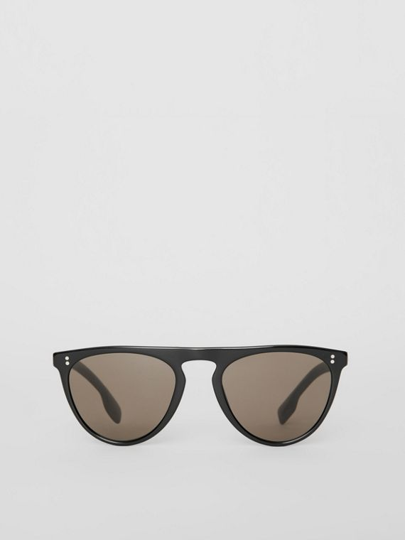 Keyhole D-shaped Sunglasses in Black
