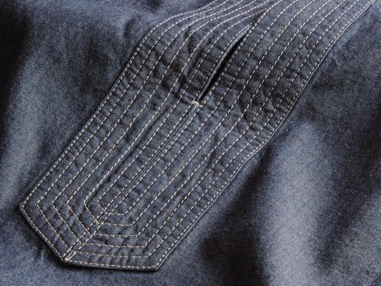 라이트 인디고 벨트 쇼트 슬리브 샴브레이 코튼 드레스 - cell image 1