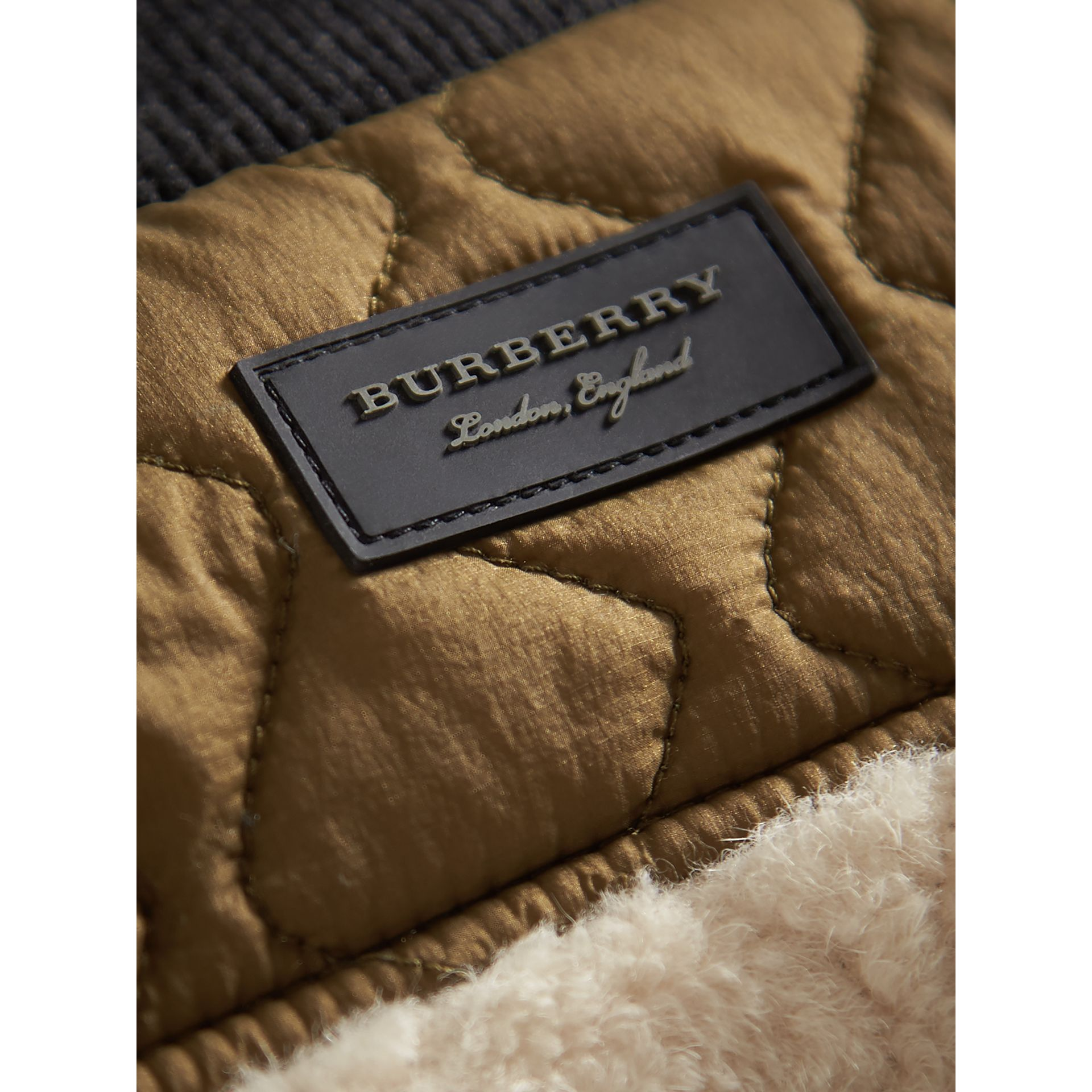 Quilted Lamb Shearling Bomber Jacket in Natural White | Burberry United Kingdom - gallery image 1