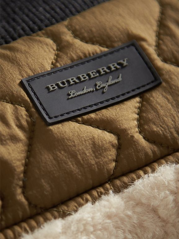 Quilted Lamb Shearling Bomber Jacket in Natural White | Burberry - cell image 1