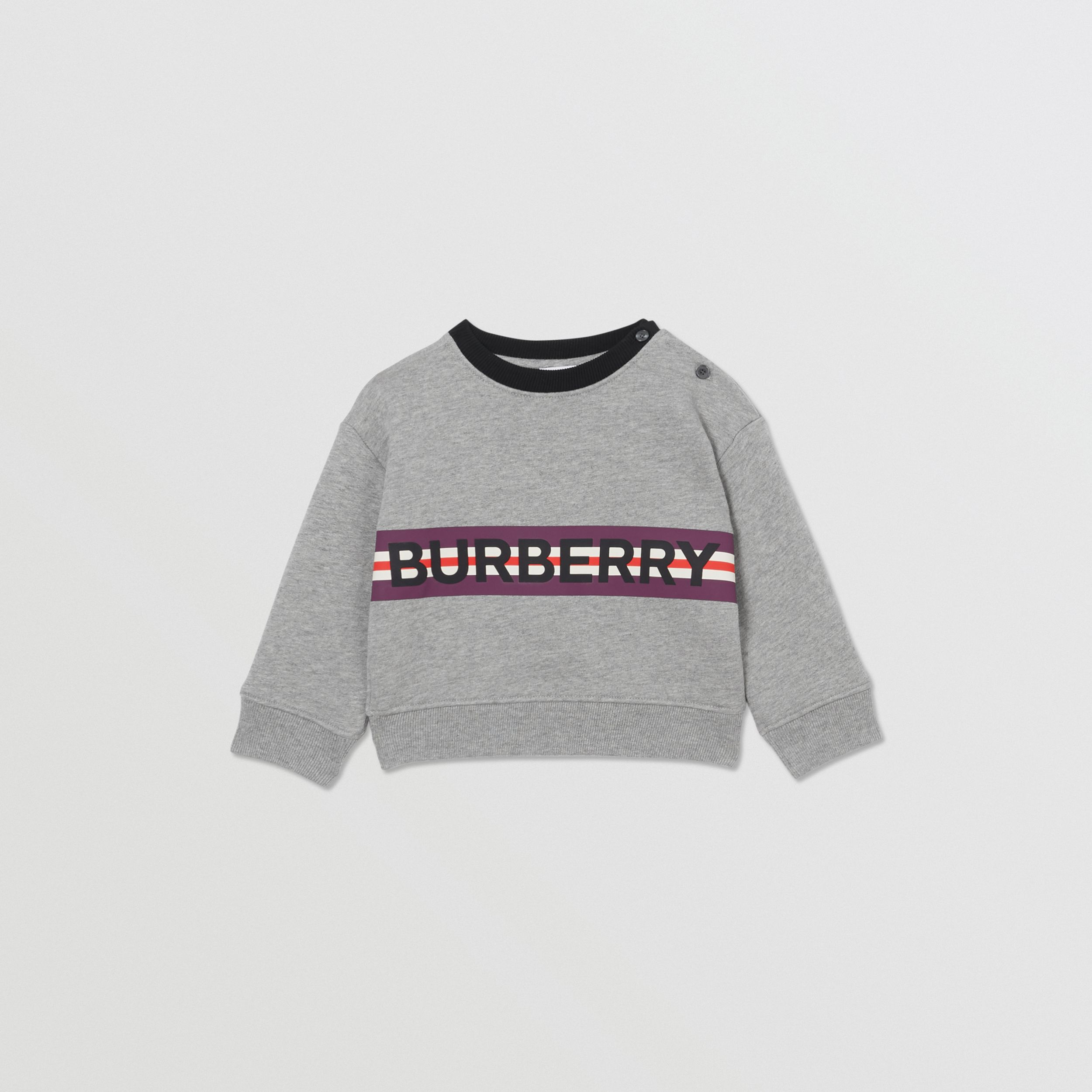 Logo Print Jersey Sweatshirt in Grey Melange - Children | Burberry - 1