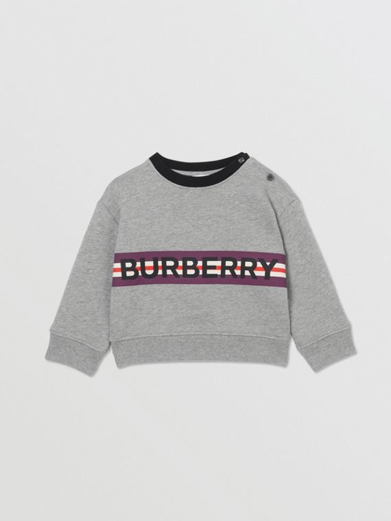 Suéter de malha com estampa de logo (Cinza Mesclado)