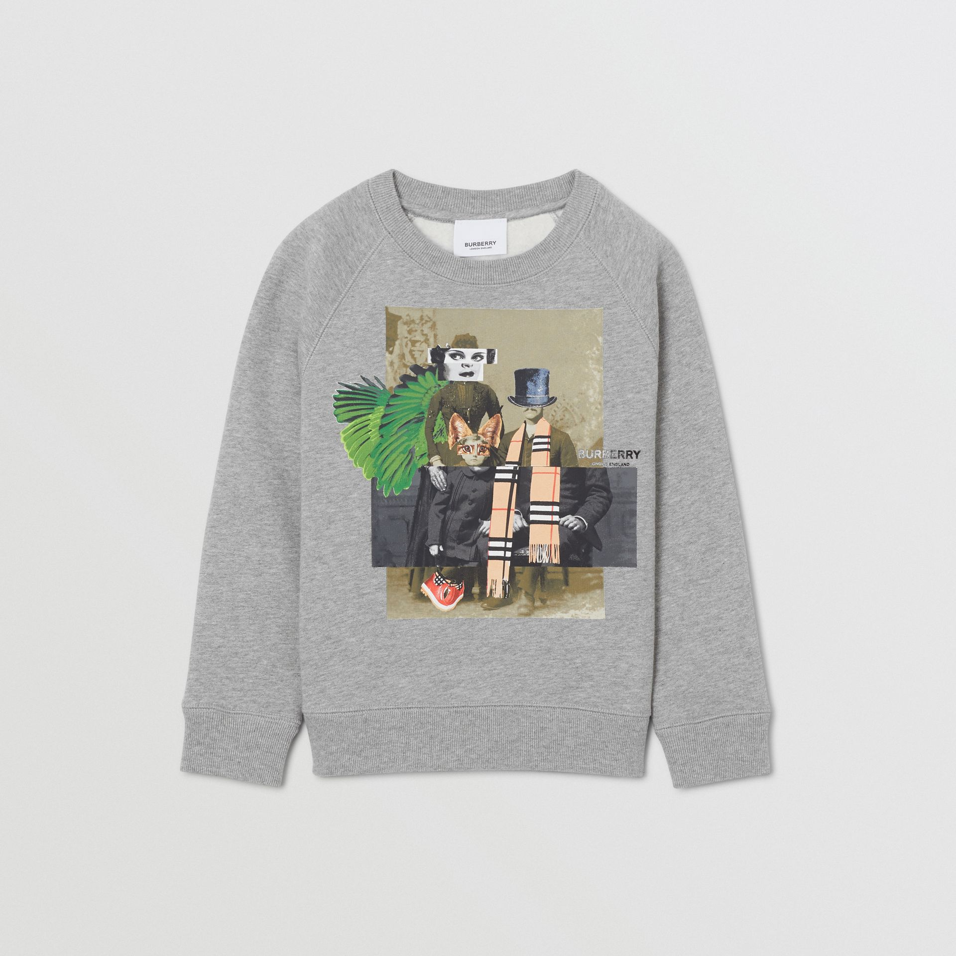 Collage Print Cotton Blend Sweatshirt in Grey Melange | Burberry - gallery image 0