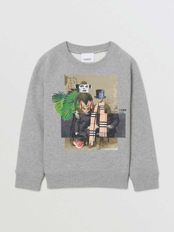 Collage Print Cotton Blend Sweatshirt in Grey Melange