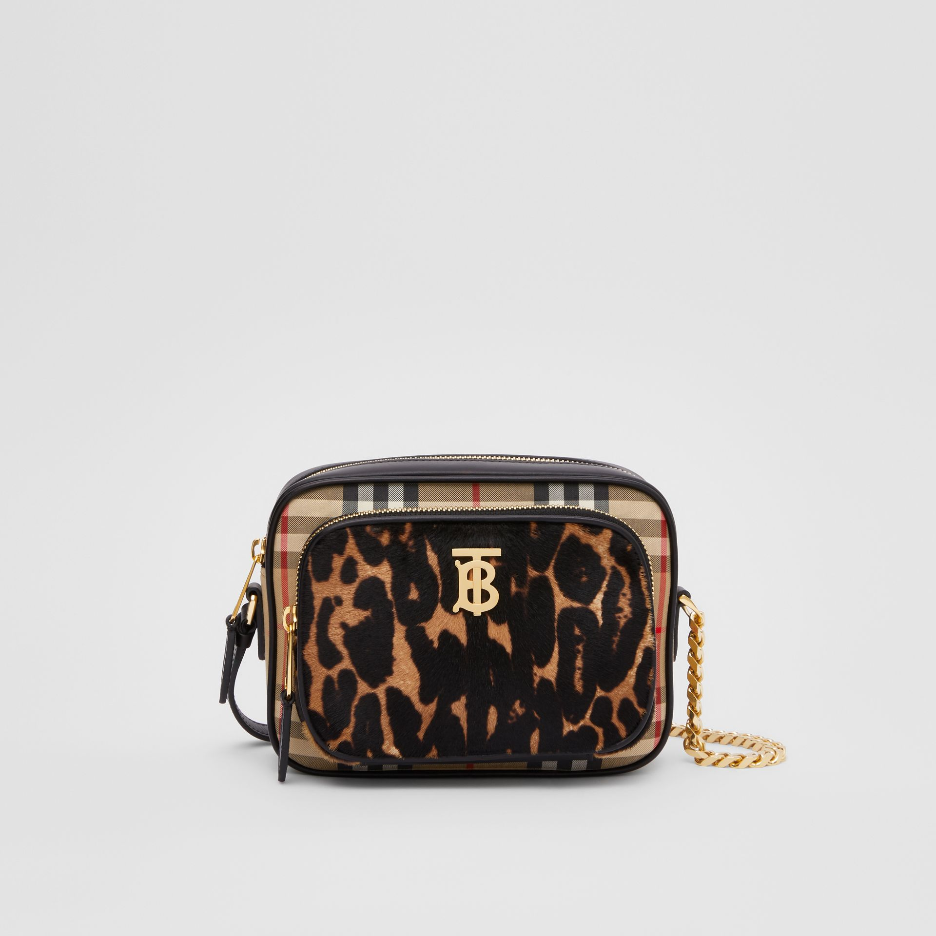 Vintage Check and Leopard Print Calf Hair Camera Bag in Black | Burberry - gallery image 0