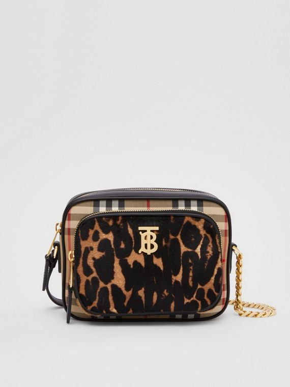 Vintage Check and Leopard Print Calf Hair Camera Bag in Black