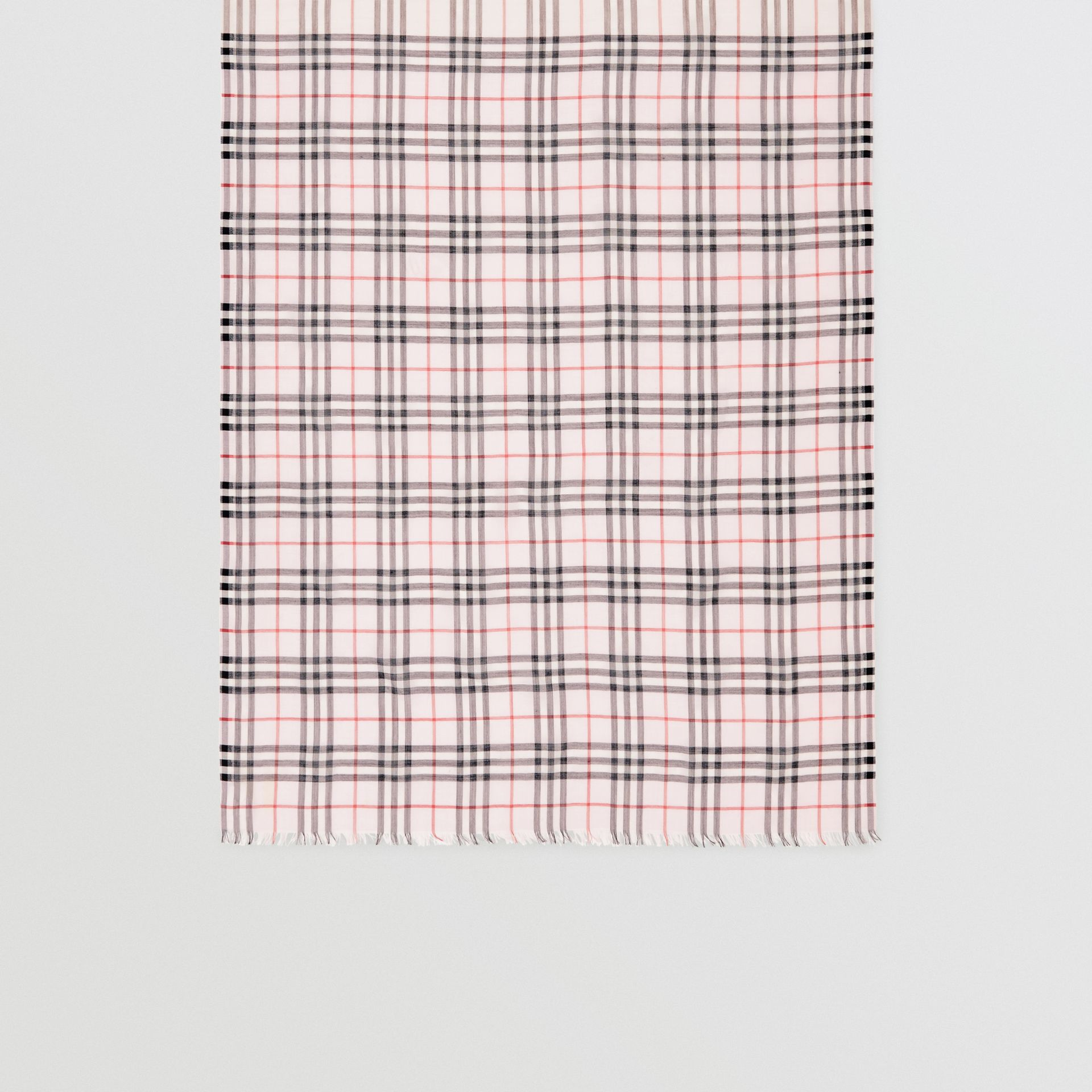 Icon Stripe and Vintage Check Wool Silk Scarf in Alabaster Pink | Burberry - gallery image 4