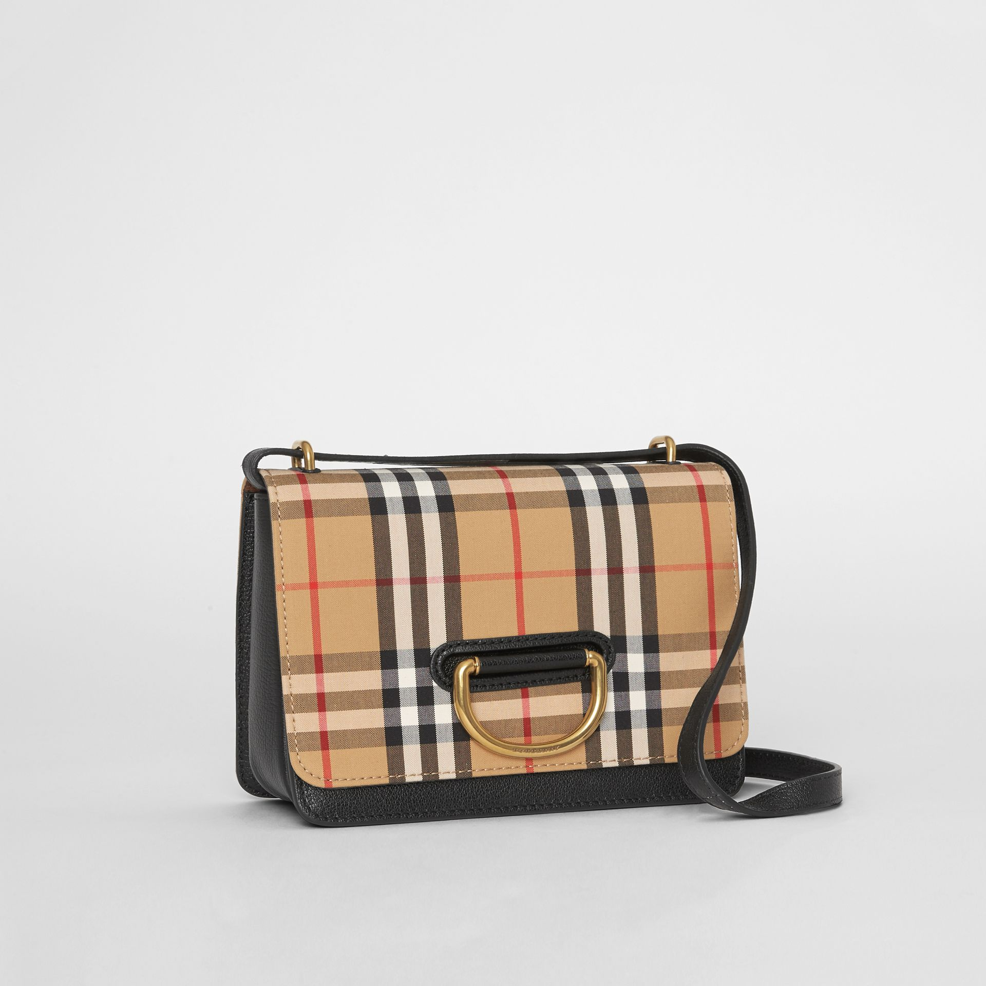 The Small Vintage Check and Leather D-ring Bag in Black/antique Yellow - Women | Burberry United States - gallery image 6