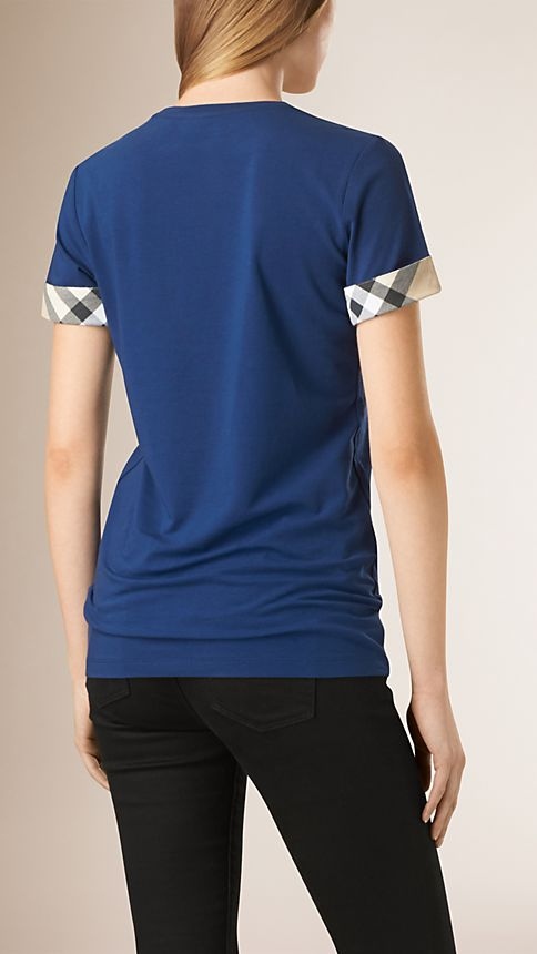 Bright navy blue Check Cuff Stretch Cotton T-Shirt - Image 2