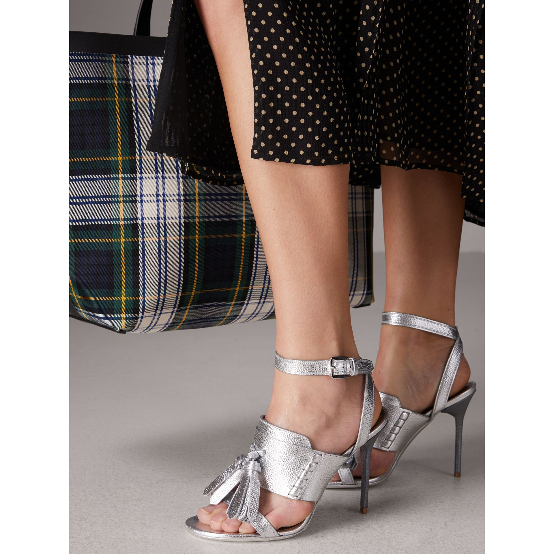 Tasselled Metallic Leather Sandals in Silver - Women | Burberry United States - gallery image 2