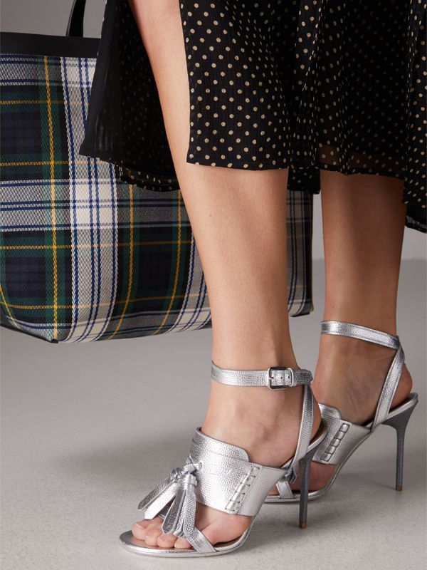 Tasselled Metallic Leather Sandals in Silver - Women | Burberry - cell image 2