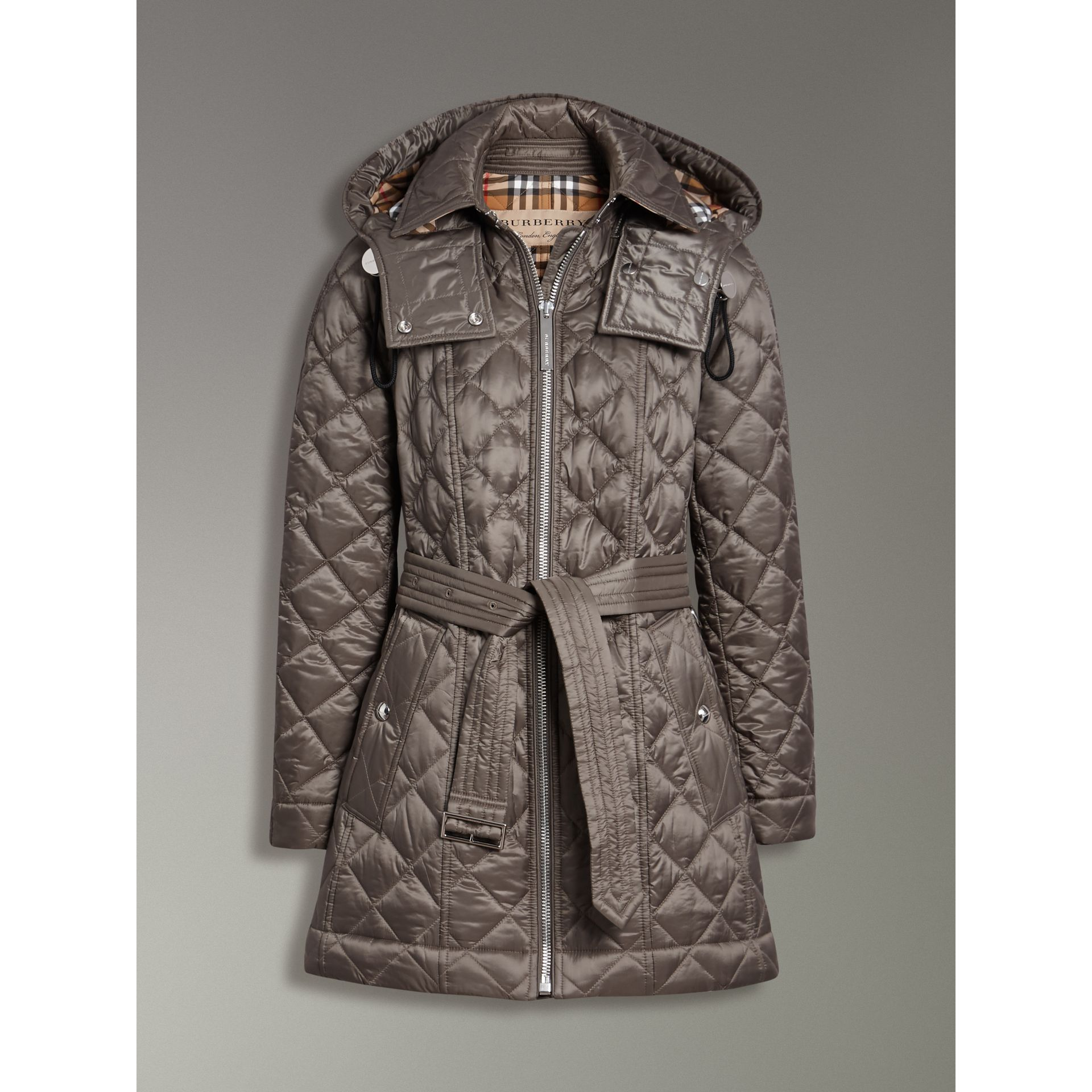 Detachable Hood Lightweight Diamond Quilted Coat in Mink Grey - Women | Burberry - gallery image 3