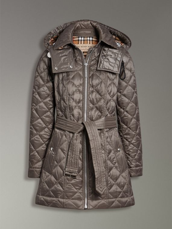 Detachable Hood Lightweight Diamond Quilted Coat in Mink Grey - Women | Burberry - cell image 3