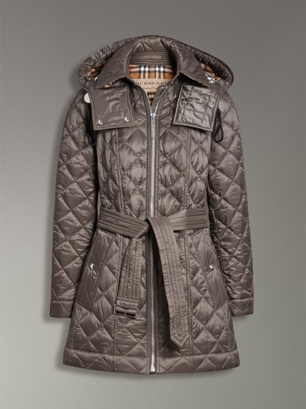 Detachable Hood Lightweight Diamond Quilted Coat in Mink Grey - Women | Burberry Australia - cell image 3